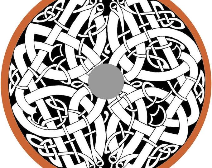 Dragon Viking Shield Pattern, Norsman shield, Wall decor, Larp and reenactment, SCA ready, black shield