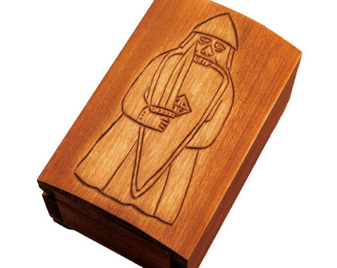 Wooden historical jewelry box with berserker of Lewis chesmenn