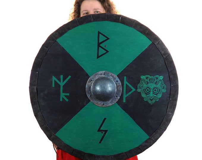 Personalized runic Viking Shield with Thor mask, Norsman shield, Wall decor, Larp and reenactment, SCA ready, black shield, Valhalla pattern