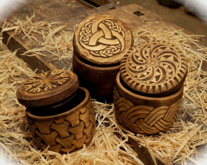 Hand carved round wood box viking and Celtic style