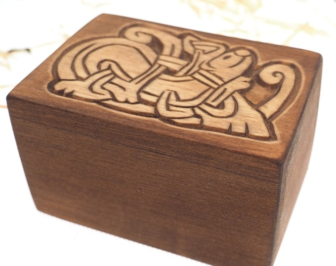 Mini Personalized Wood Urn For Pet Ashes, Wooden Memorial Box, Carved Keepsake Cremation Urns, Cremation Boxes For Burial Medieval Gothic