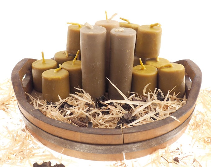 "Long Pure Beeswax Candle, 5 and 1/2"" high Unscented Beeswax Pillar Candle, Hand Made, Natural Eco Friendly for Meditation, Prayer or Altar"