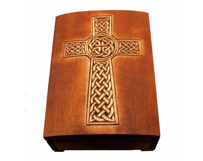 "wooden historical jewelry box with ""isle of man"" celtic cross pattern"