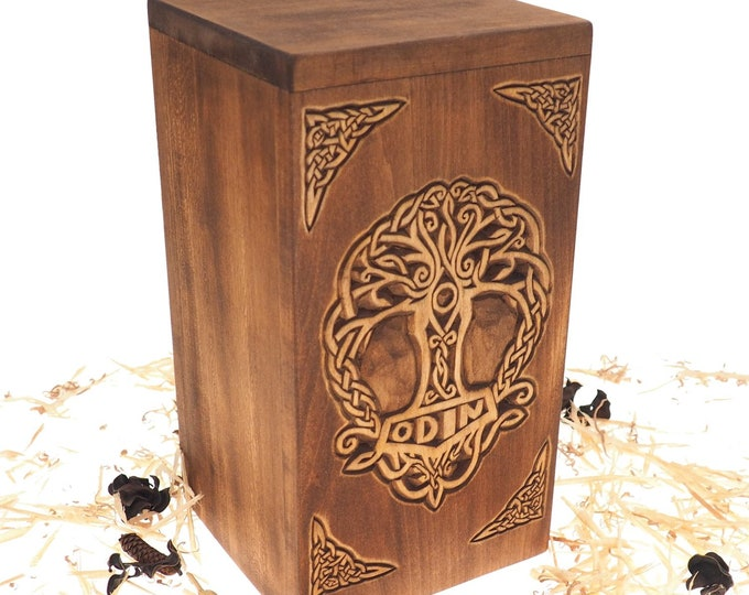 Personalized Wood Urn For Human Ashes,Thor hammer motive, Wooden Memorial Box, Carved Keepsake Cremation Urns, Cremation Boxes For Burial