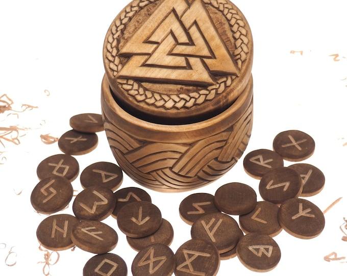 Viking Rune Set in hand carved Box with Valknut Norse Runes Elder Futhark Runes Asatru Runes Divination Runes Runes box viking