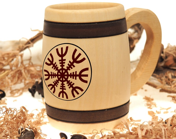 Personalized Hand Carved Wooden Beer Mug 0.3 litre (10 oz)