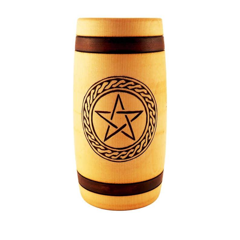 Hand Carved Wooden Beer Mug 0.5 litre  17 oz  with Pentagram image 0