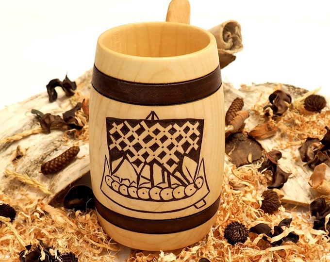 Hand Carved Wooden Beer Mug 0.5 litre ( 17 oz ) Viking ship from  from Broa in Halla (Gotland, Sweden) Man Gift Ideas, Vikings Beer Tankard,
