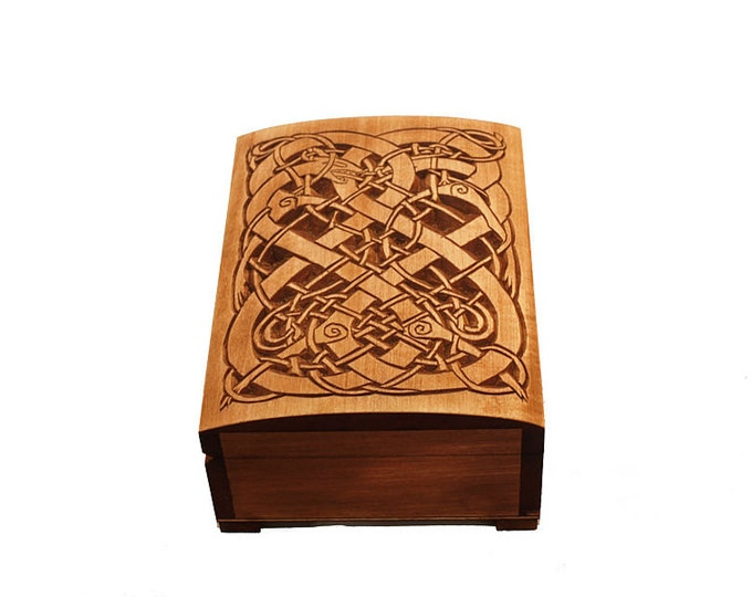 Wooden historical jewelry box with Urnes Dragons
