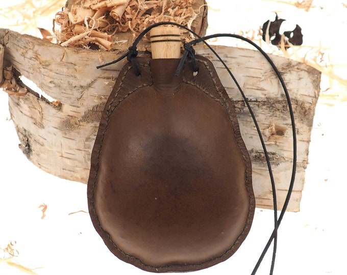 Egg shape Waterskin, 17 oz ,Natural water bottle, for bear and wine, brown leather canteen, 0,5 liter viking, Witcher, gift for him and her