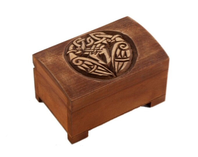wooden historical jewelry box with celtic birds pattern