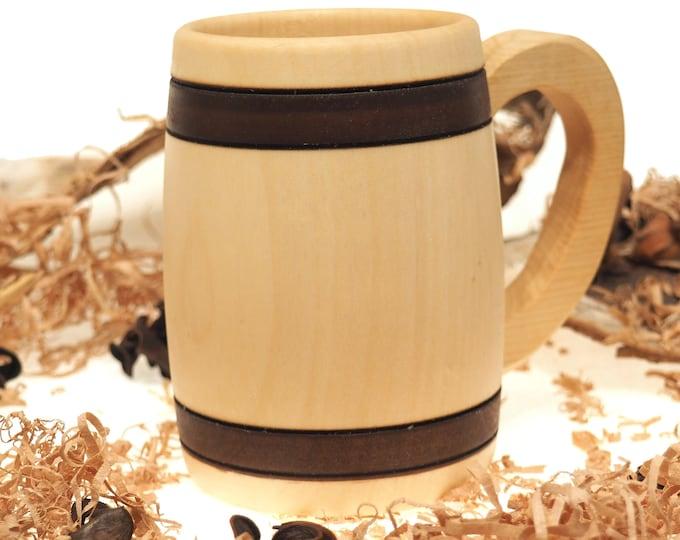 Small Beer Mug 0.3 litre (10 oz )|beer mug|wooden cup|wooden drinking mug|historical mug||rustic mug|medieval replica