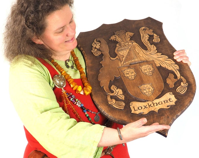 BIG Personalized Family Crest, Hand Carved, Coat of Arms, Custom, Family Shield, Wooden Emblem, Wedding Wood Art, Heraldic, Woodcraft