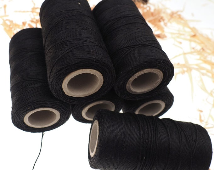 Black linen thread, unwaxed black Linen String , Warp Thread thickness of 1mm / 3ply 100grams (210 yards ~ 190 metres), linen sewing thread