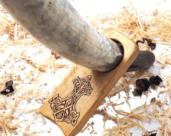 Wood Drinking Horn Holder with Thor Hammer  Hand Carved  . Table top Viking horn holder. Travel drinking horn holder.