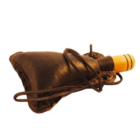 Petite main conçu authentique peau de vin médiévale avec bouchon en bois cuir fiole la vessie ALL NATURAL
