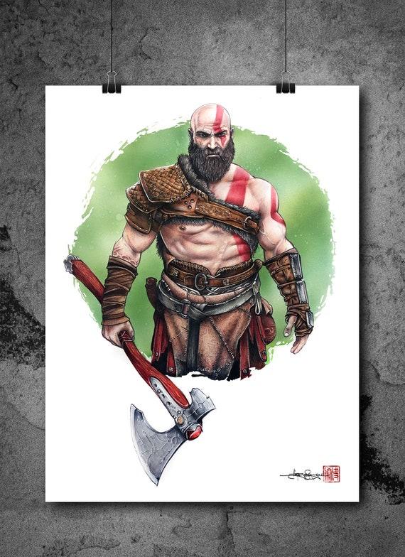 Original Kratos From God Of War Drawing