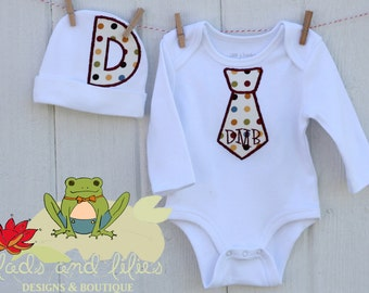 Personalized Infant Tie Onesie with Matching Hat