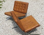 Mies van der Rohe Pair Barcelona Chairs Produced in by Industria Argentina