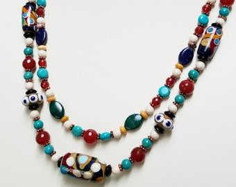 Contemporary Southwestern Necklace Set with Earrings, Handmade Lampwork Focal, American Turquoise and Carnelian Beads, Handmade Jewelry