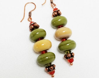 Contemporary Southwestern Earrings with Handmade Lampwork Beads in Olive and Beige with Copper, Handmade Earrings