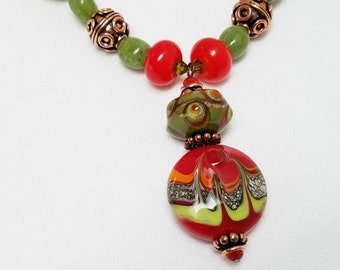 Necklace Set with Earrings, Handmade Lampwork Pendant and Beads, Jade and Copper Beads, Handmade Jewelry