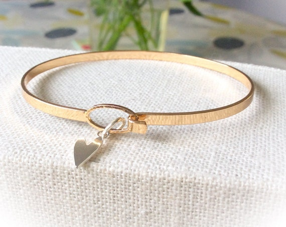 Gold bangles, silver heart bangle, stacking bangles, everyday bangle bracelet, bride bangle, 21st bracelet,  bridesmaid bracelets, hearts