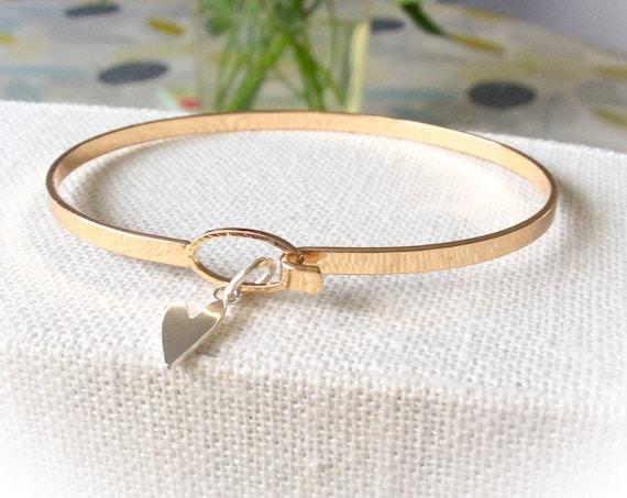 Gold bangles, silver heart bangle, stacking bangles, everyday bangle bracelet, bride bangle, 21st bracelet,  bridesmaid bracelets, hearts