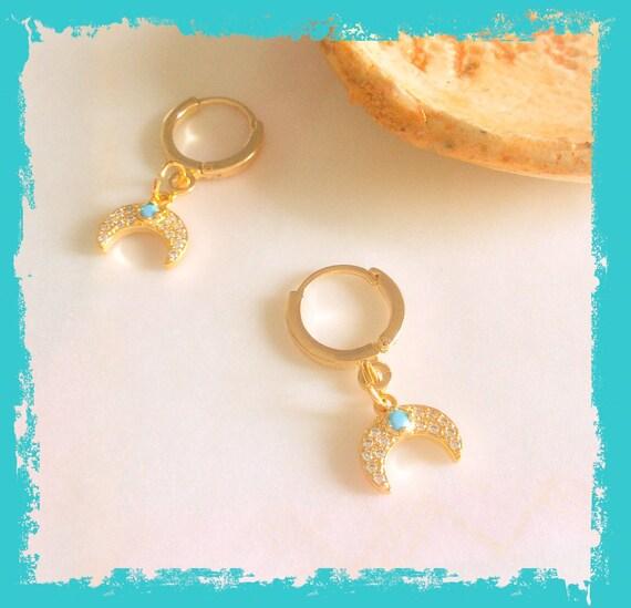 Gold huggie hoop earrings, moon phase earrings, hoop earrings, tiny gold hoops, tiny charm hoop earrings, crescent moon earrings,