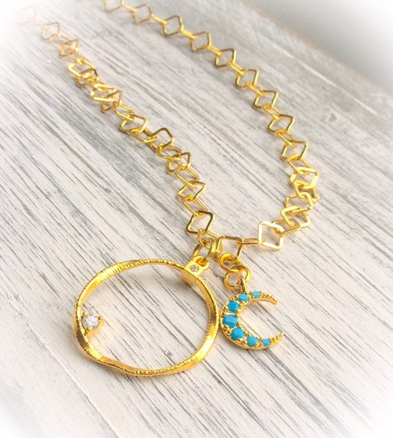 Gold moon and circle necklace, turquoise moon necklace, summer charm necklace, crescent moon, celestial jewelry, 30th birthday jewellery,