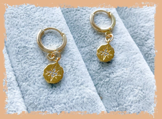 Huggie hoop earrings, gold star hoops, North Star hoops, star earrings, tiny hoops, 14k gold stars, gold earrings, gold hoops, celestial