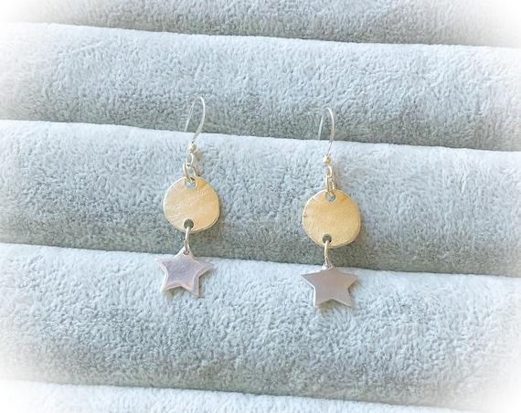 Silver star dangle earrings, long star earrings, dress earrings, summer style earrings, hippie star earrings, jewellery gift for mum ,