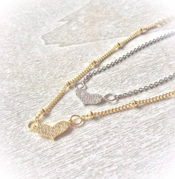 Skinny heart bracelet, thin gold bracelet, dainty silver bracelet, diamanté heart bracelet, bridesmaids bracelets, layering bracelet,