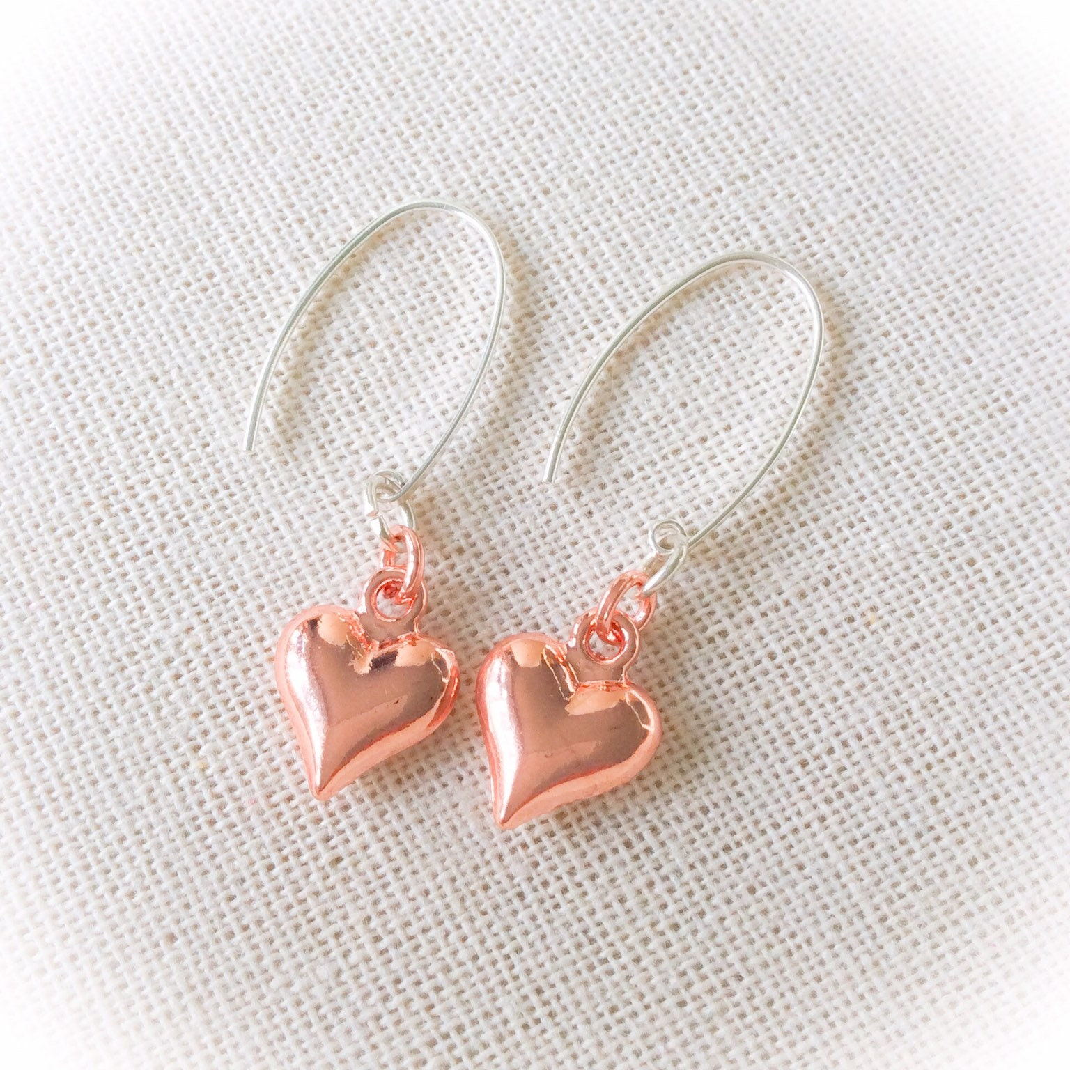 Earrings Rose Gold Heart Romantic