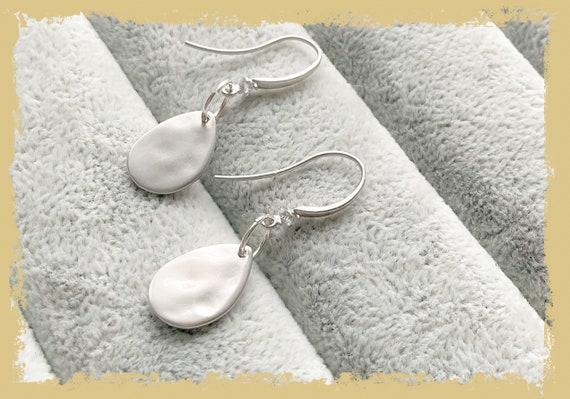 Silver earrings, teardrop earrings, silver teardrop, bridal earrings, dangle earrings, sterling silver, matt silver, anniversary earrings