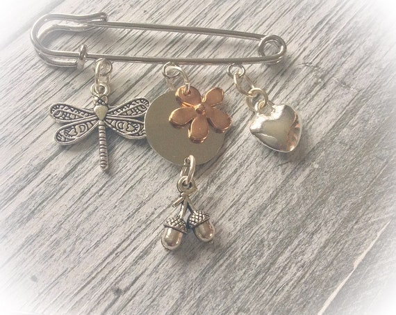 Kilt pin brooch, safety pin brooch, coat pin, dragonfly brooch, gift for grandma, woman xmas gifts, unusual gifts for her, acorn brooch,