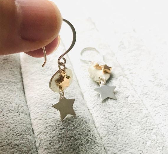 Star Earrings Dangle Earrings Sterling Silver Earrings Dainty Earrings Minimalist Jewelry Graduation Gift for Women Birthday Gift for Her