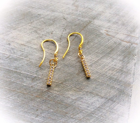 Gold earrings, stick earrings, sterling silver, diamante charms, birthday earring gifts, modern jewellery, anniversary gift,