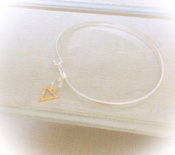 Modern silver bangles, contemporary bangles, triangle charm, wedding jewelry, diamante charm, skinny modern bangle, birthday bangle ideas