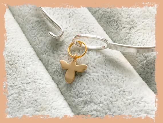 Honey bee bangle, gold bee, skinny silver bangles, easy clasp bangle, layering bangles, stacking skinny bangles, gold bangles, birthday gift
