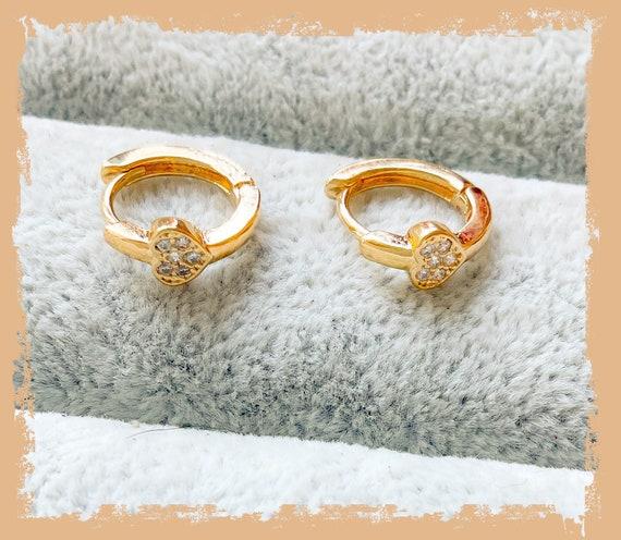 Tiny heart huggie hoops, gold heart hoop earrings, diamanté heart, gold earrings, heart earrings, gold hoops, gold huggies
