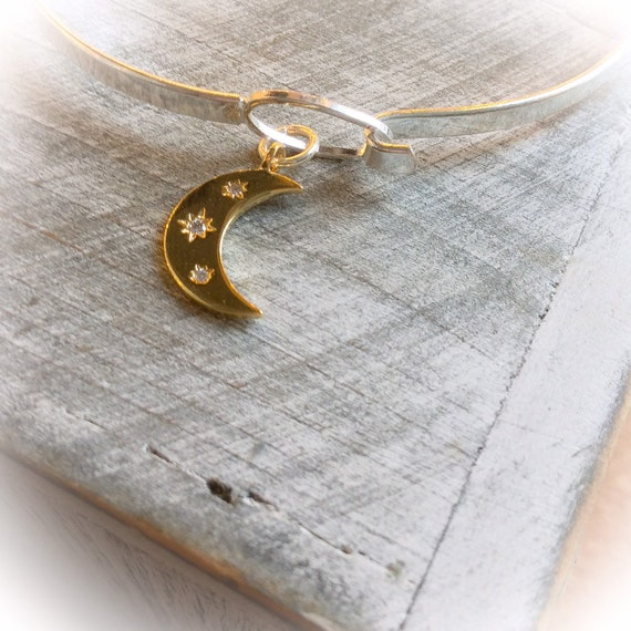 Moon phase bracelet, moon bracelet, moon charm bangle, witches bangle, moon bracelet, gold moon, moon jewelry, goddess jewellery, gift