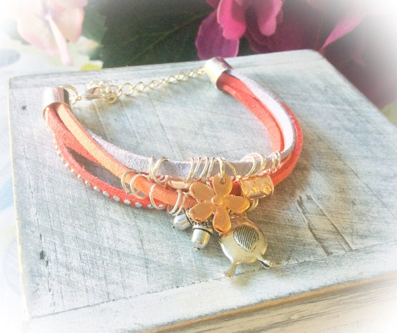 robin bracelet, 16th birthday bracelet, sister bracelets, boho charm bracelets, red and orange bracelet, summer leather bracelet,