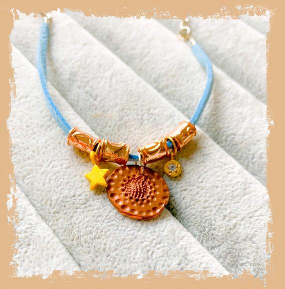 Clay charm bracelet, precious metal clay bracelet, suede bracelet, coin charm bracelet, blue bracelet, gold star, friendship bracelet