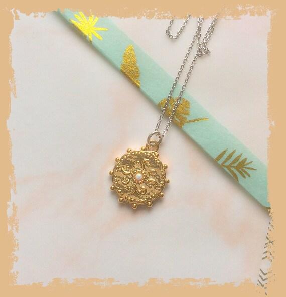 Gold sun pendant, opal pendant, sun salutation necklace, delicate gold pendant, Surya pendant, sun and moon necklace, yoga pendant