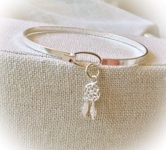 Thin bangle, dreamcatcher bracelet, delicate bracelet, bohemian jewelry, Hippie Bangle, boho dreamcatcher jewellery, simple jewellery