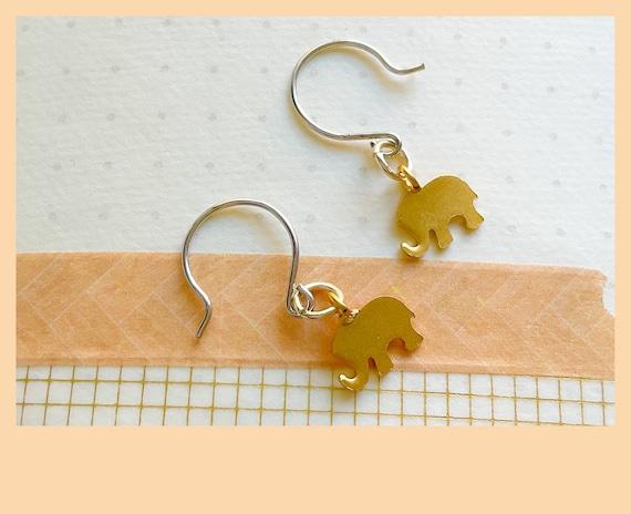 Gold elephant earrings, elephant style jewellery, tiny elephants, elephant charms, sterling silver, earrings, animal earrings, gifts for her