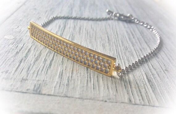 Gold bar bracelet diamanté bracelet, thin silver bracelet, simple gold bar, 21st birthday gift, best friend bracelet, gift for mom,