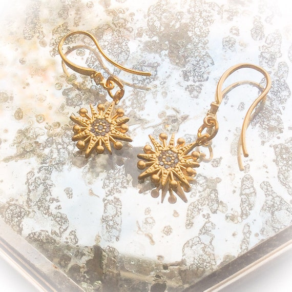 Sun earrings, gold sunburst earrings, sun jewelry, gold earrings, starburst jewellery, bride star earrings, sun and star gifts, matt gold.