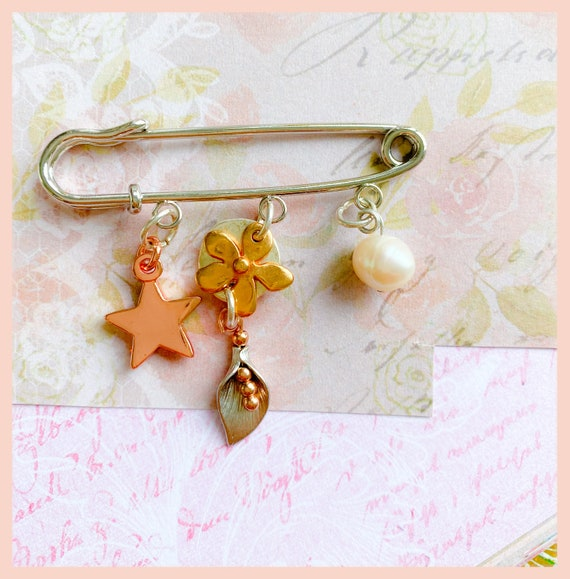 Flower brooch, cala lily, rose gold star brooch, poncho accessories, Autumn brooch, rose gold and silver brooch gifts for her,